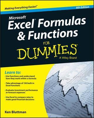 Excel Formulas and Functions For Dummies  Ken Bluttman  9781119076780