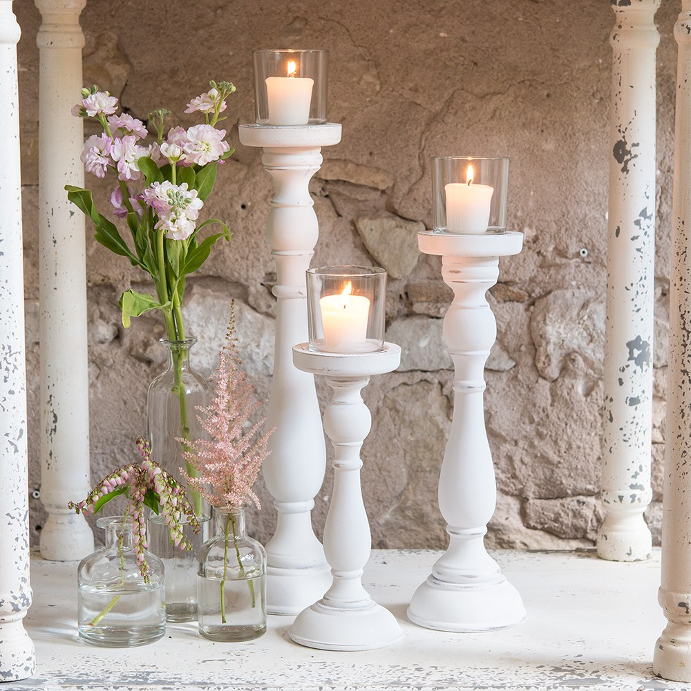 Shabby Chic Shop Shabby Chic Spindle Candle Holder Set