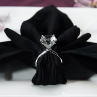 Silver Plated Diamond Engagement Ring Napkin Holders ...