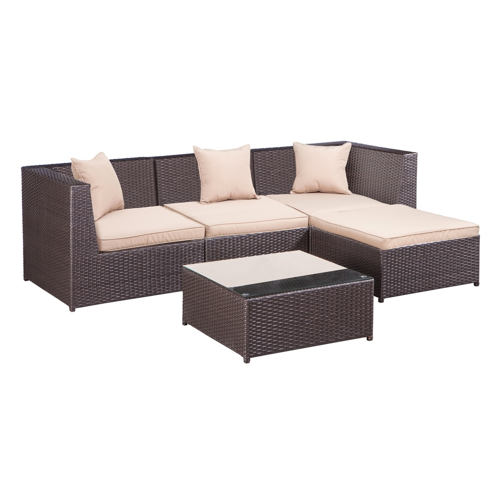 Cheap L Shaped Rattan Sofa Details About Palm Springs Outdoor 5 Pc Furniture Wicker Patio Set W Chairs Table Cushions