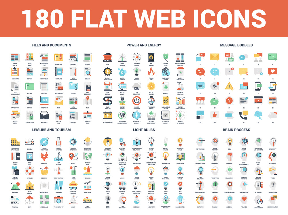 Vector set of 180 flat web icons on following themes - files and
