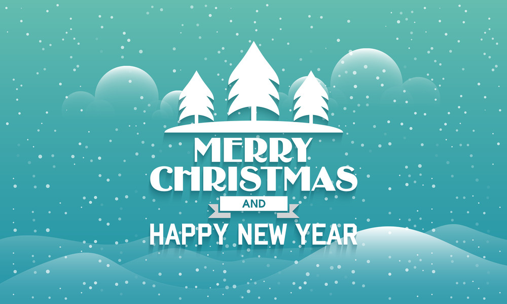 Merry Christmas and Happy New Year celebration greeting card design