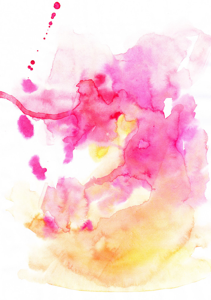 Abstract Hand Drawn Watercolor Background In Yellow And Pink Royalty