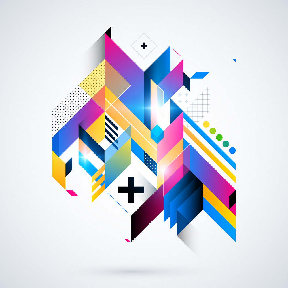 Futuristik Design Abstract Geometric Element With Colorful Gradients And Glowing