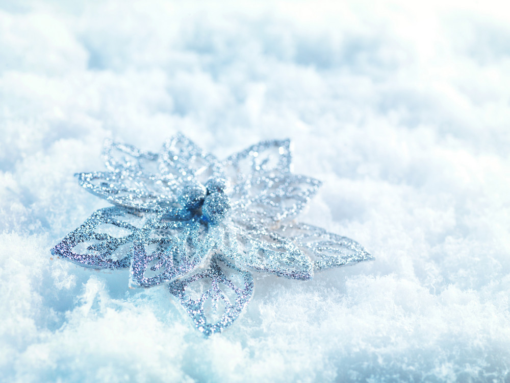 Winter and Christmas background Beautiful sparkling silver and red