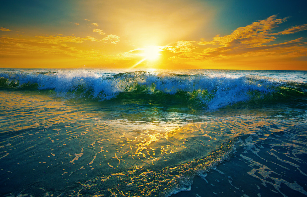 Close up of ocean waves at sunrise Royalty-Free Stock Image