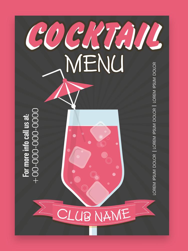 Stylish Cocktail menu card design for club pub Royalty-Free Stock - club card design