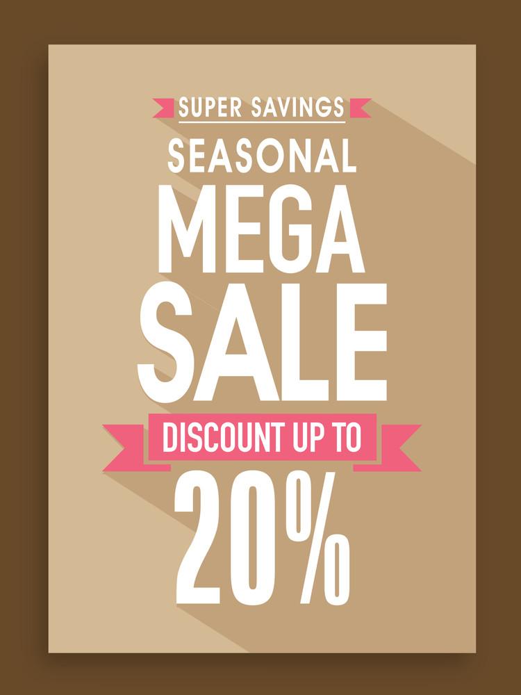 Seasonal Mega Sale poster banner or flyer design with 20 discount - sale poster design