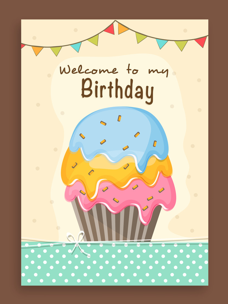 Vintage invitation card design decorated with delicious cupcake and