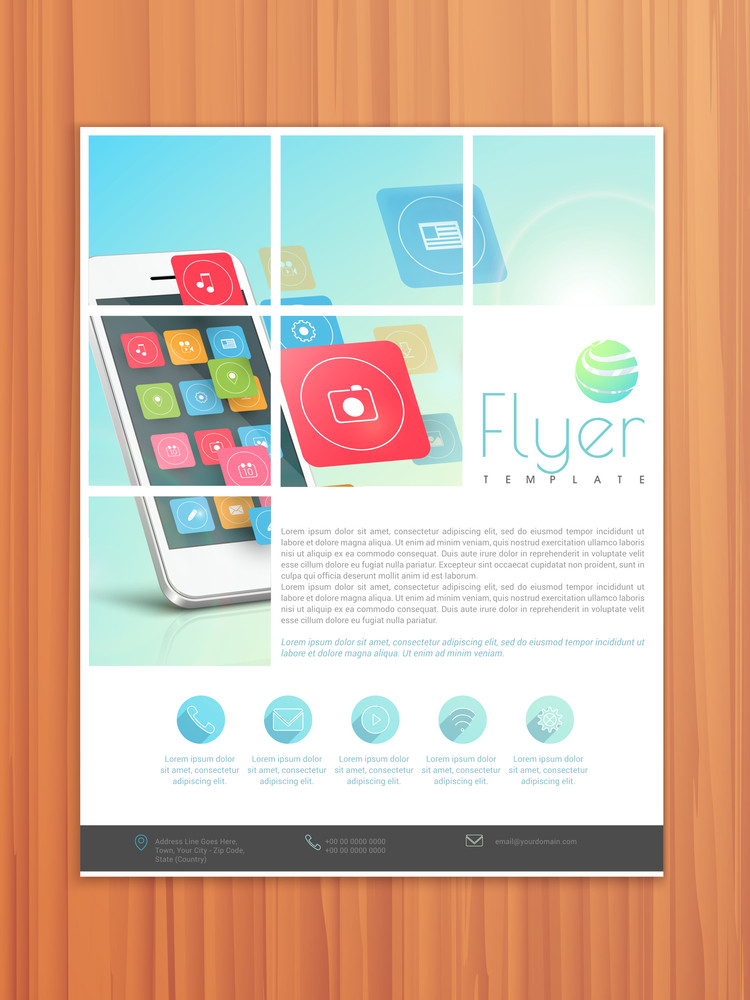 Corporate business flyer template or brochure design for technology