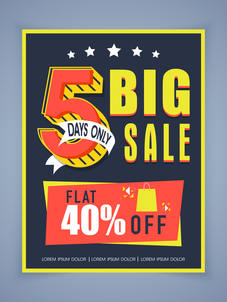 Stylish big sale poster banner or flyer design with flat discount - sale poster design