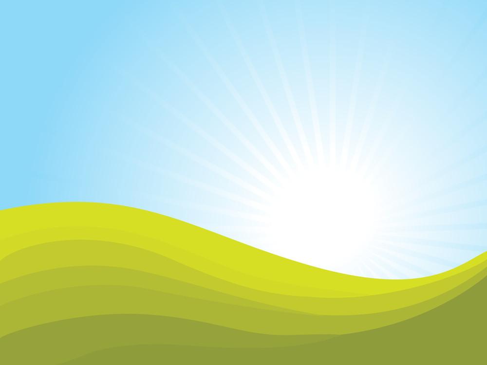 Green Waves On Sunset Background Royalty-Free Stock Image - Storyblocks