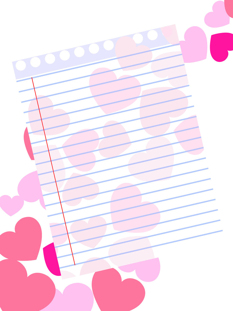 Template Of A Love Card On Pink Hearts Shape Background With Blank - note paper template