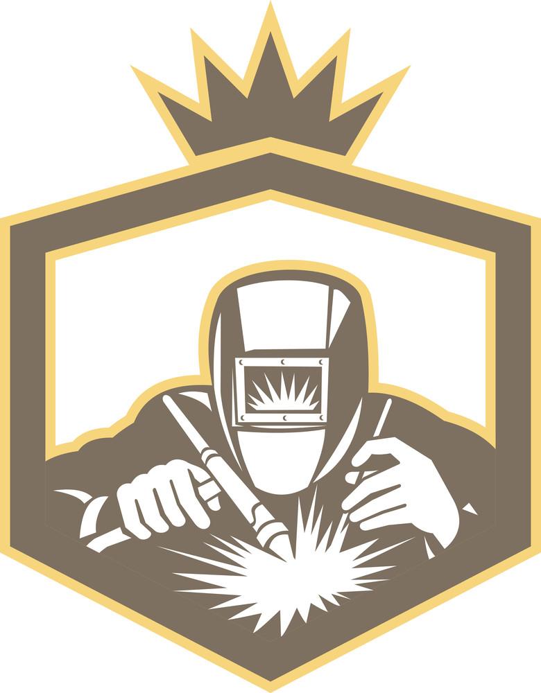 Welder Fabricator Welding Torch Shield Retro Royalty-Free Stock - welder fabricator