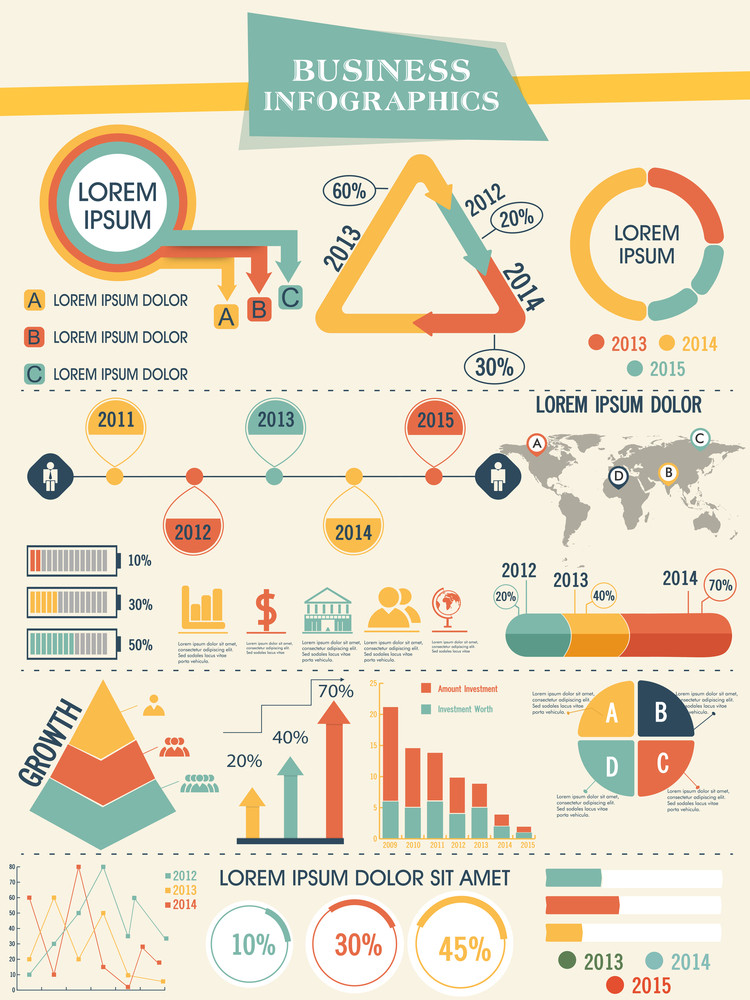 Business infographics template with different elements and graphs