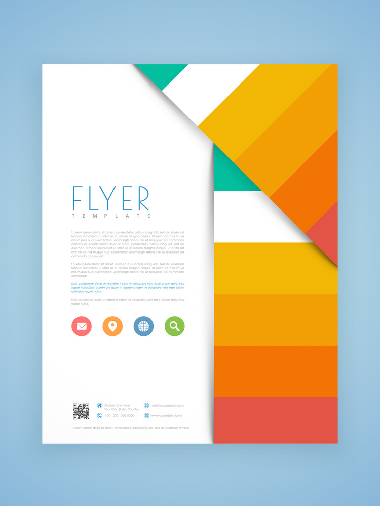 Creative business flyer, template or brochure design with web icons