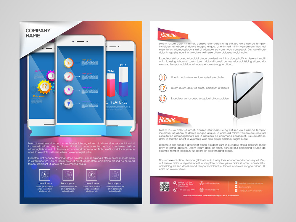Creative Two Page Brochure, Template or Flyer design with