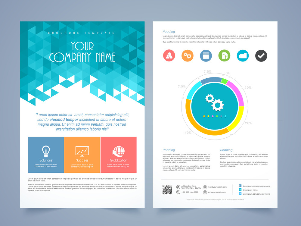 Creative two page business flyer, template or brochure design with - pricing brochure template