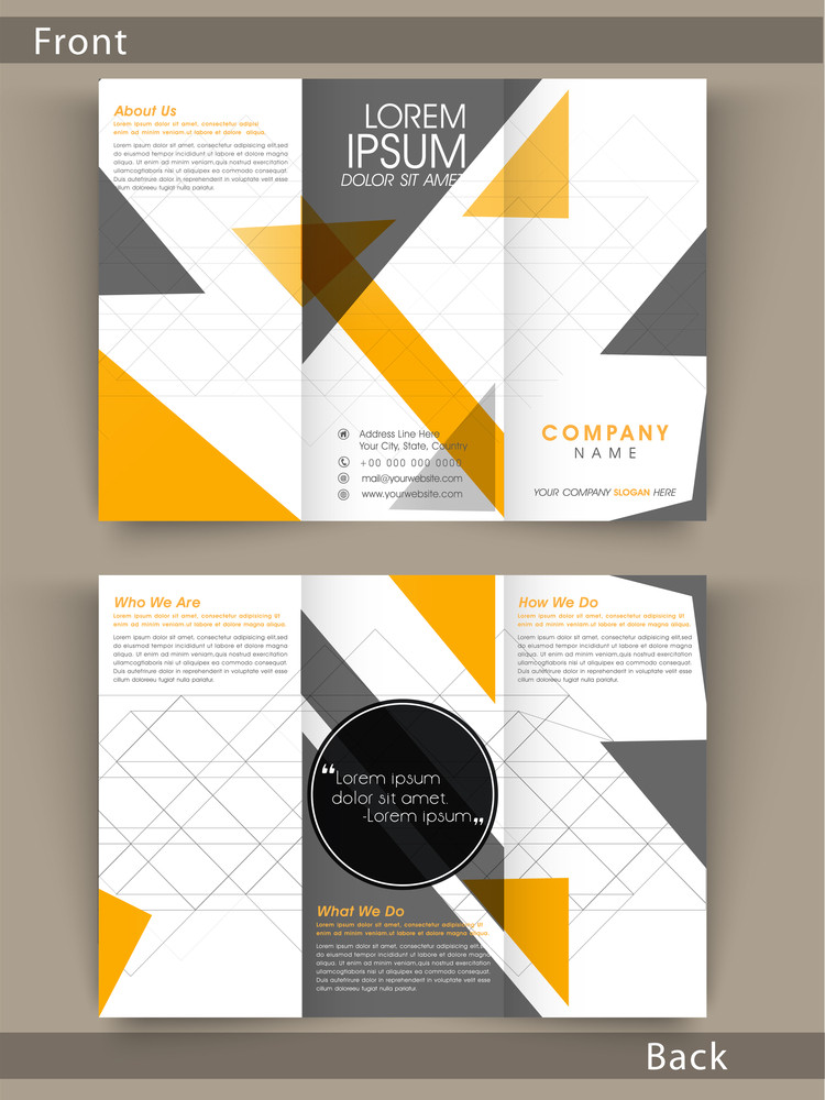 Tri Fold flyer, template or brochure design with proper place hoders