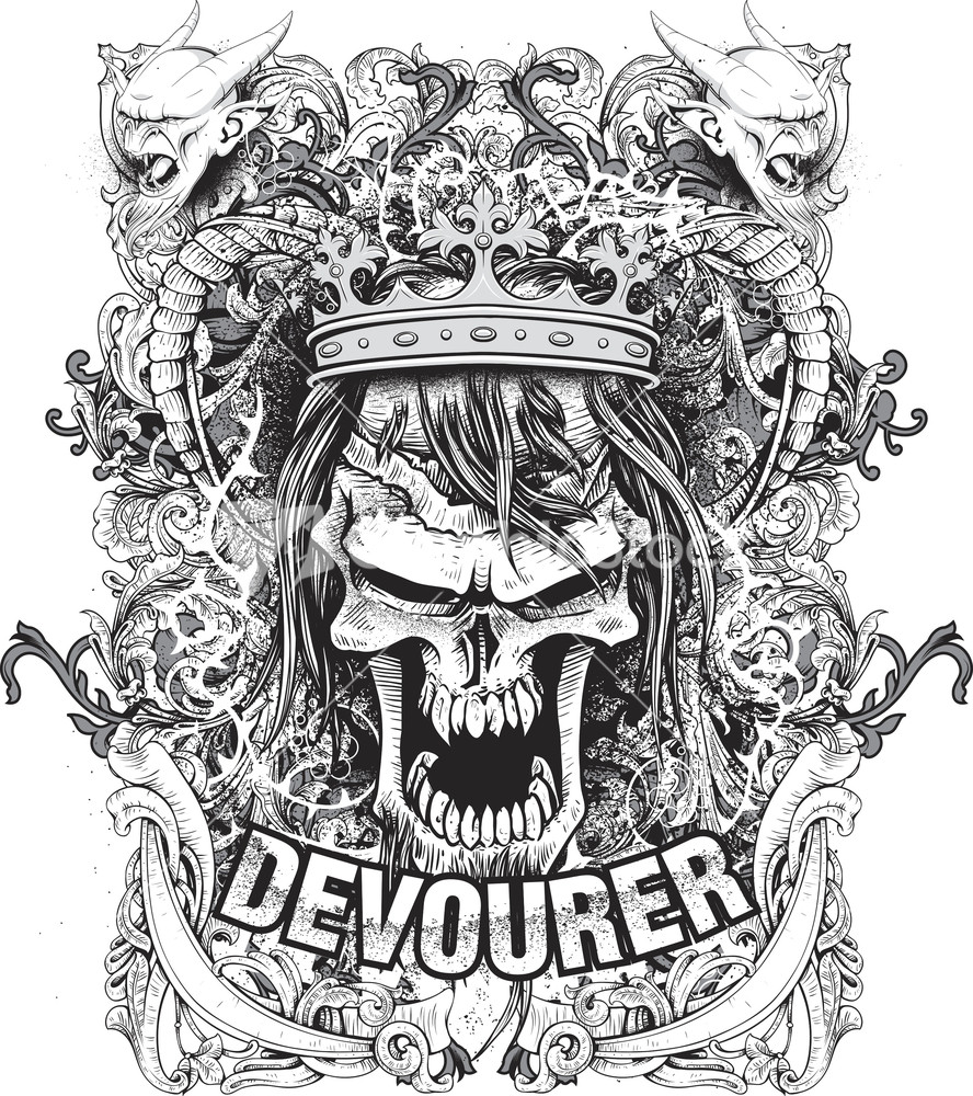 Design t shirt vector -  Vector T Shirt Design With Angry King Skull Download