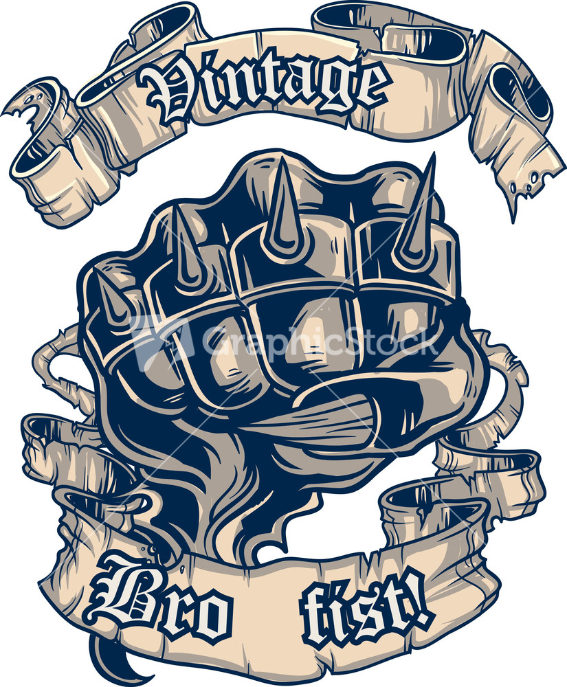 Vintage vector t shirt design with fist