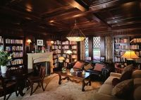 Custom Office - Library With Paneling & Coffered Ceiling ...