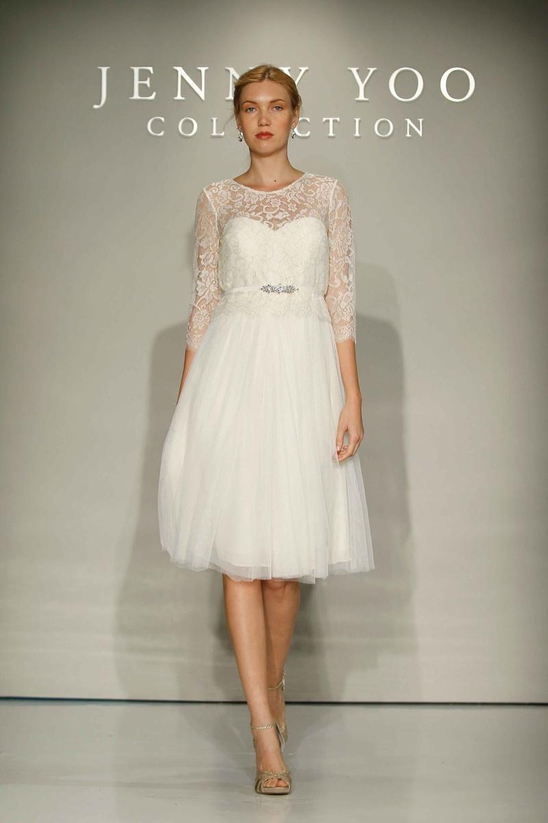 short tulle wedding dress Jenny Yoo Bridal tulle short wedding dress with lace sleeves