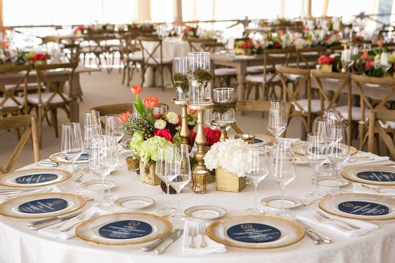 Reception Décor Photos - Round Table with Gold Box Centerpieces - wedding reception round tables