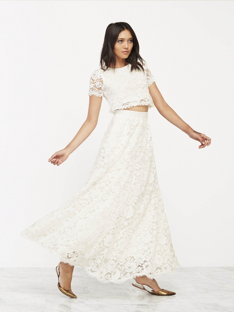 wedding dress skirt REFORMATION wedding dress with lace skirt and crop top
