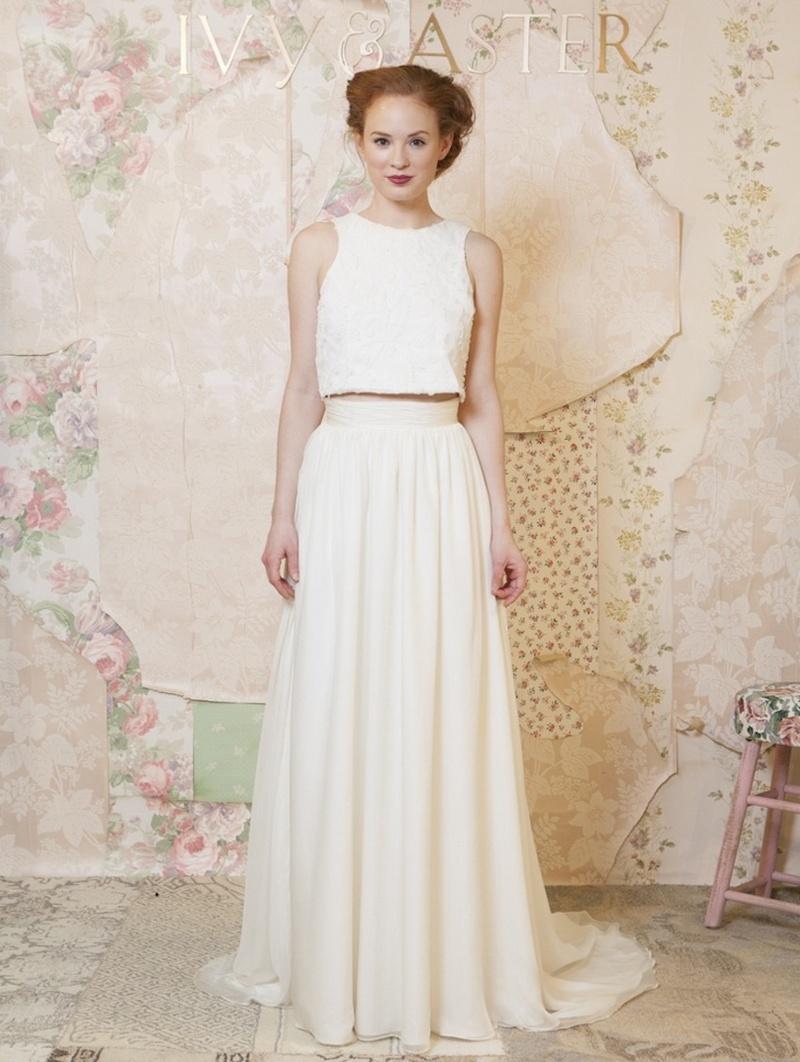 crop top wedding dress Tank crop top with sheath floor length skirt Ivy and Aster