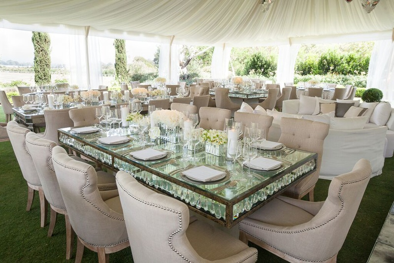 Reception Décor Photos - Mirror Table  Upholstered Seating - Inside