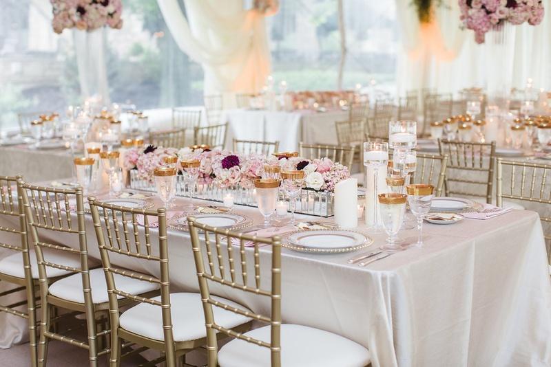 Reception Décor Photos - Rectangular Table with Trough Centerpiece