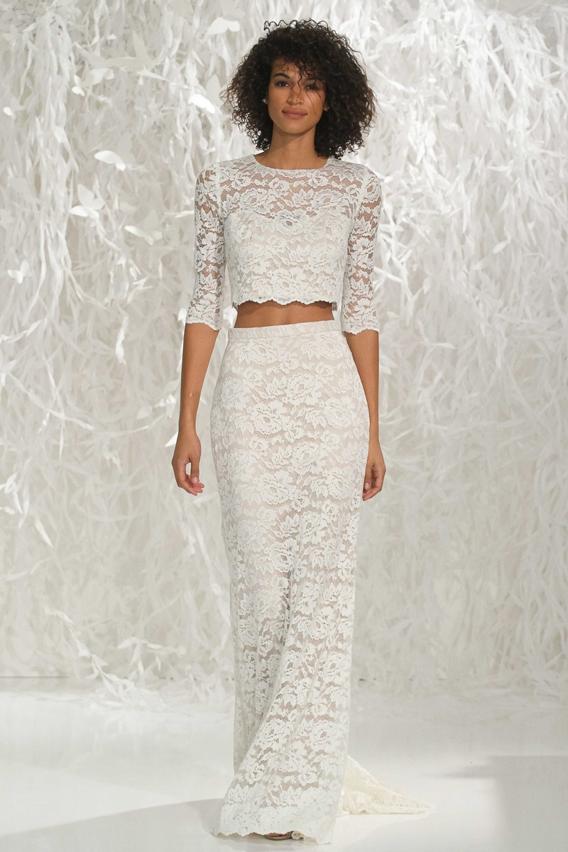 crop top wedding dress Willowby by Watters lace two piece wedding dress with 3 4 sleeve crop top