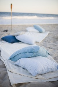 Rehearsal Dinners Photos - Pillows and Blankets on Beach ...