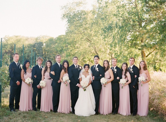 A White  Gold Rustic Orchard Wedding in Illinois - Inside Weddings - pink black and white weddings