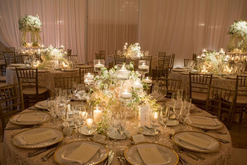 Reception Décor Photos - Low Centerpiece on Round Reception Table - wedding reception round tables
