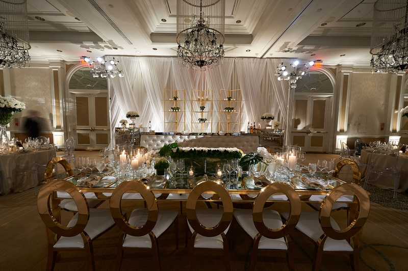 Reception Décor Photos - Modern Gold Chairs at Rectangle Table