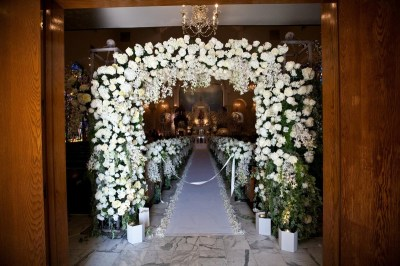 Ceremony Décor Photos - All-White Ceremony Entrance ...