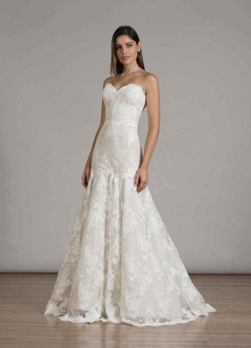 trumpet style wedding dress Liancarlo Fall strapless lace trumpet wedding dress