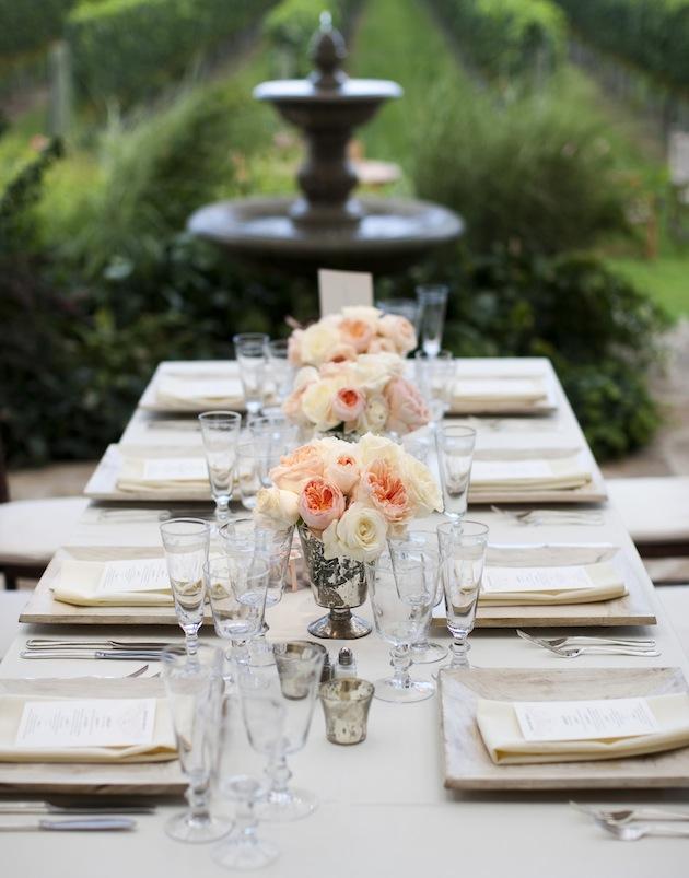 Wedding Reception Ideas - Reception Tables - Inside Weddings - wedding reception setup with rectangular tables