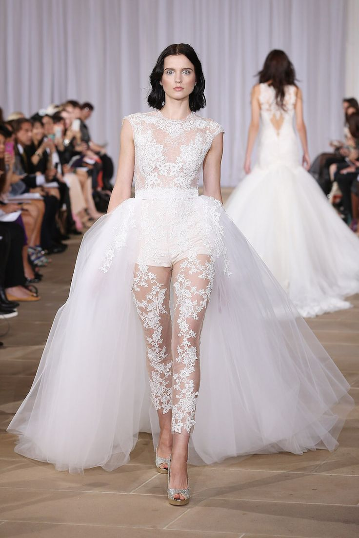detachable wedding dress train Ines Di Santo wedding dress with bodysuit and detachable skirt