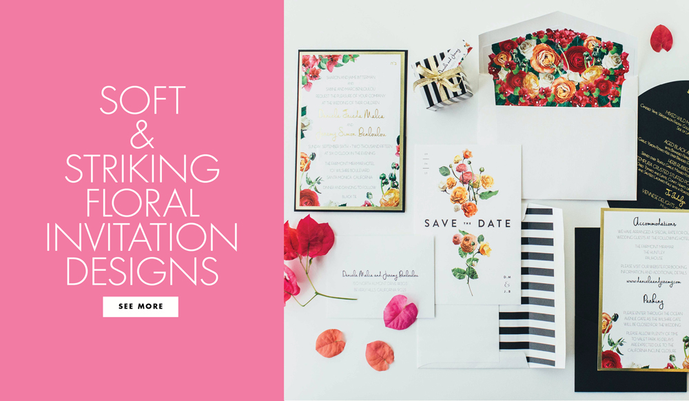 10 Artful Wedding Invitation Suite Designs with Floral and Plant