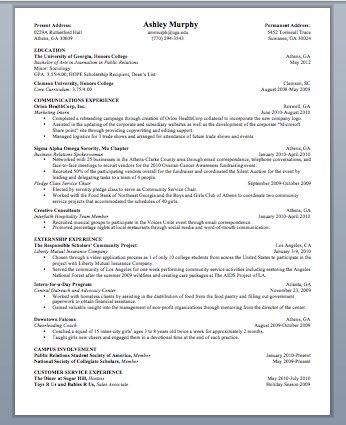 Enterprise rent a car management trainee resume