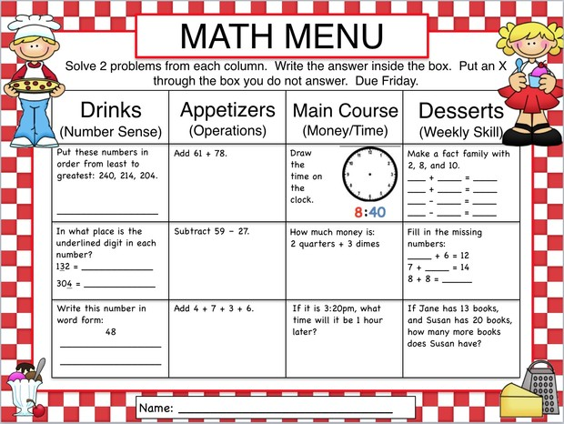 Choice Boards, Menus,  Tic-Tac-Toe