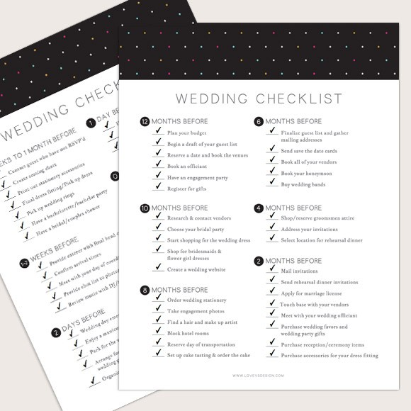 Wedding Checklist Printable by Basic Invite - wedding list