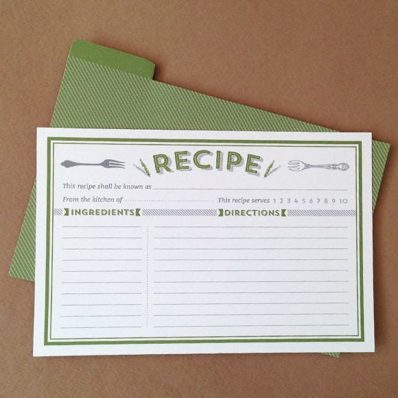 Printable Recipe Cards PDF, Instant Download Templates - Basic Invite