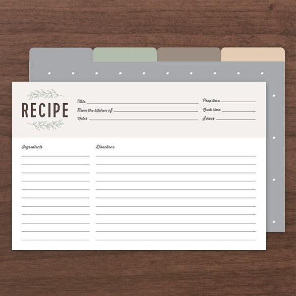Printable Recipe Cards PDF, Instant Download Templates - Basic Invite