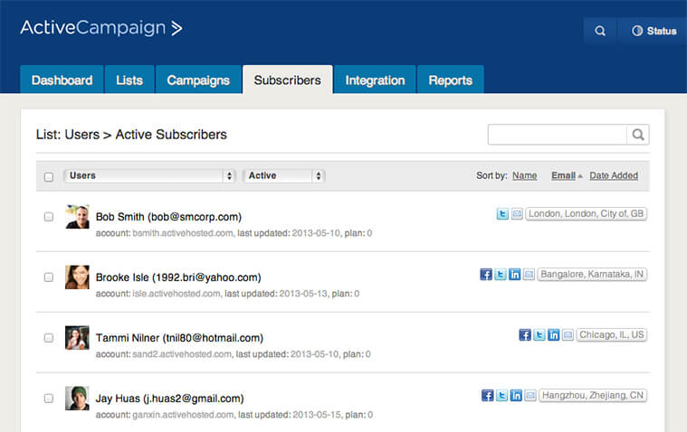 A new subscriber/contact list page ActiveCampaign Email Marketing Blog