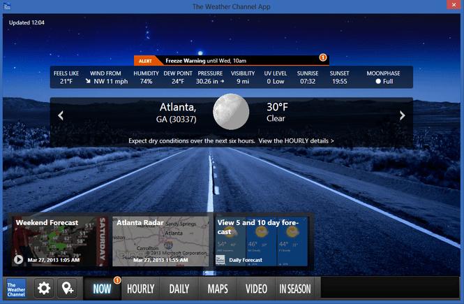 weather channel desktop download windows xp