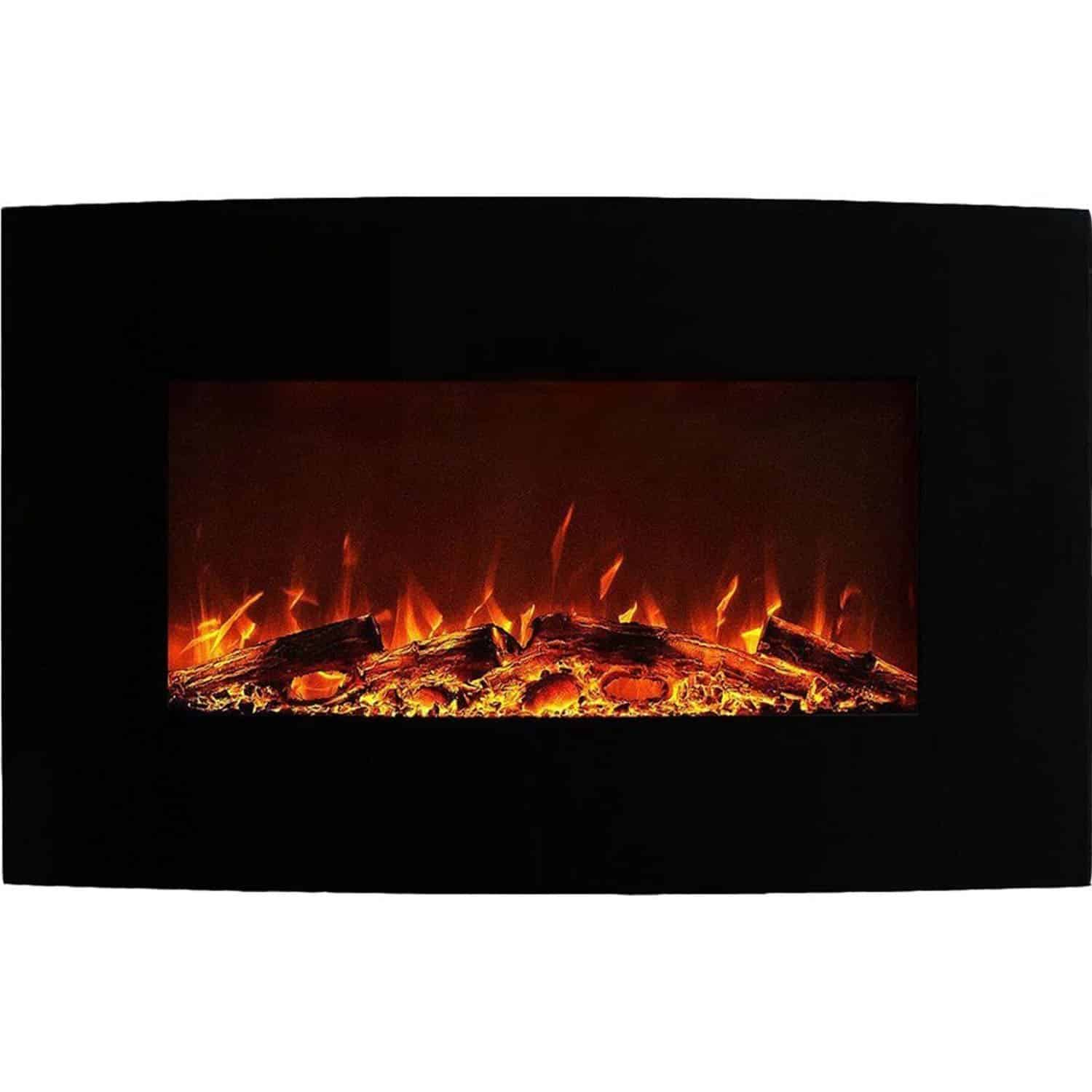 Curved Electric Fireplace Neptune 35 Inch Curved Black Wall Mounted Electric Fireplace